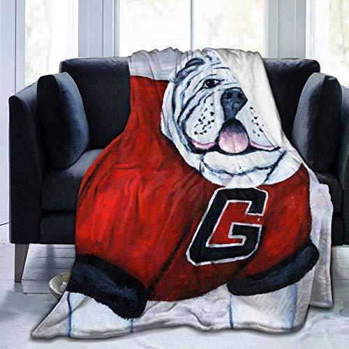 Blived Coperta Flannel in Pile,Mascotte dei Georgia Bulldogs UGA X Katie Phillips Morbido Accogliente per Bambini Ragazzi Adulti Coperta per Letto e Divano 125x100cm
