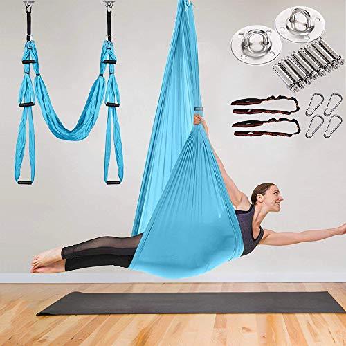 Aerial Yoga Swing Hammock - Yoga Hammock Swing - Trapeze Yoga Kit Antigravity Ceiling Hanging Yoga Sling with 2 Extension Straps, Ceiling Mount Kit, Hooks blue