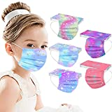 50 Pcs Disposable Printed Face_Masks for Kids,Spring Flower Breathable Colorful Facemasks with Nose Wire for Children,3-ply Protective Face_Mask for Holiday Party Gifts