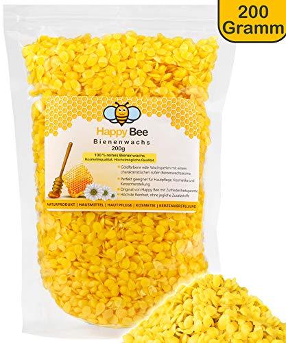 Happy Beene Paquet de 200g de pastilles 100% pure cire d'abeille, parfait pour les cosmétiques et la fabrication de bougies