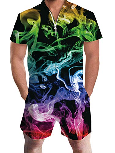 uideazone Mens 3D Graphic Colorful Smoke Printed Personalized Short Sleeve Jumpsuit Rompers Playsuit...