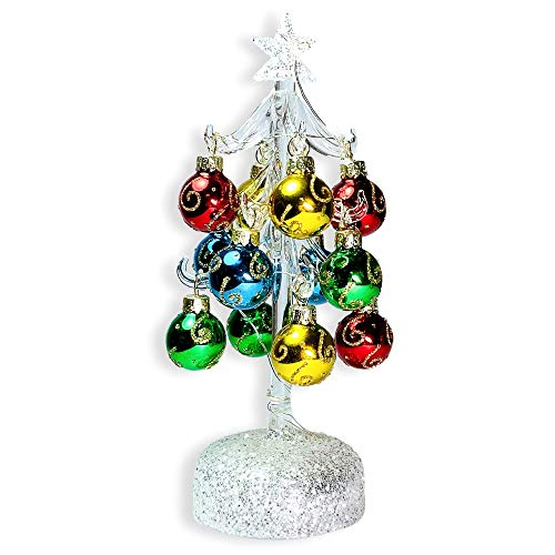 BANBERRY DESIGNS Glass Christmas Tree with LED Lights - White Iridescent Glitter with 12 Mini Ball Ornaments - 8 1/2' H
