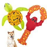 PUPTECK Dog Pool Floating Toys - Pets Water Squeaky Toys 2 Pack with Fun Lobster & Turtle Shape for Small Medium Large Dogs and Cats