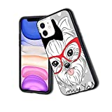 Coque de protection fine en silicone TPU pour iPhone Motif I Love My Yorkie Red Nerd Lunettes Love...