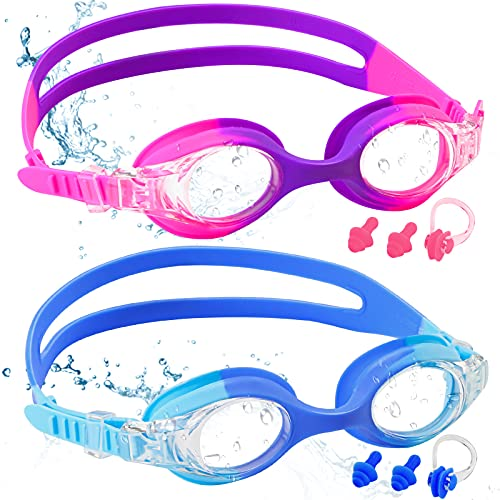 COOLOO Kids Swimming Goggles, 2-PACK Swimming Goggles Kids 6-14, Anti-Fog,...
