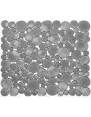 iDesign Spoelbakmat, normale gootsteenmat van kunststof, beschermende spoelmat voor keramische en roestvrijstalen wastafels, grijs