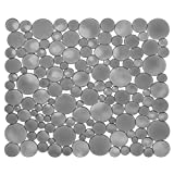 iDesign Kitchen Sink Mat, Standard Plastic Sink Protector Mat with Modern Design, Practical Drainer Mat for Kitchen Sink, Grey