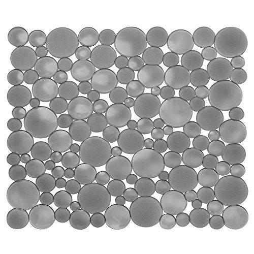 iDesign Alfombrilla escurreplatos para fregadero, rejilla de plástico de tamaño mediano, tapete protector para fregaderos de acero inoxidable y cerámica, gris