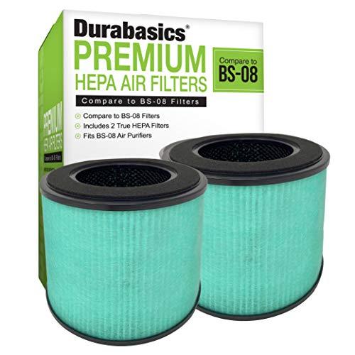 Durabasics Filtros HEPA para purificador de aire PARTU BS-08 – 2 unidades – Filtración de 3 capas – Compatible con filtro de repuesto de purificador de aire PARTU HEPA y purificador de aire PARTU