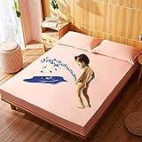 XGguo Protector de colchón Transpirable.Rizo Bambú. Sábana de algodón Impermeable de Color Liso-Naranja Claro_1.8x2.0m