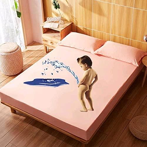 XGguo Protector de colchón Transpirable.Rizo Bambú. Sábana de Cama de algodón Impermeable de Color sólido-Naranja Claro_0.9x2.0m