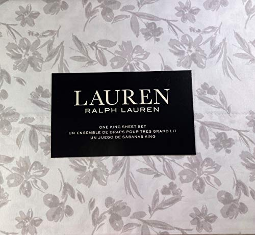 Lauren King Size Small Floral Sheet Set Cotton Light Gray and White