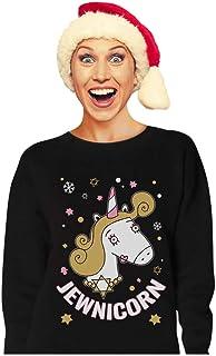 Tstars - Happy Holidays Funny Jewnicorn Ugly Christmas Hanukkah Women Sweatshirt X-Large Black