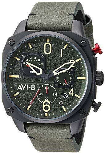 AVI-8 - Reloj Casual de Cuarzo para Hombre, Acero Inoxidable y Cuero, Color Verde (Modelo: AV-4052-08)