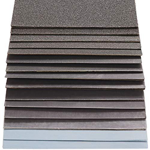 S&R Wasserfestes Schleifpapier Set 60 Stk, Schleifblätter Satz, Schmirgelpapier, für Trockenpolitur und Nasspolitur, Siliziumkarbid-Korn, 15 Körnungen P80 bis P3000