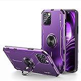 Jonwelsy Funda para iPhone 12 Pro MAX (6,7 Pulgada), Shockproof Flexible Silicona Carcasa + Aleación de Aluminio Cover con Rotación de 360 Grados Anillo iman Kickstand para iPhone 12 Pro MAX (Morado)