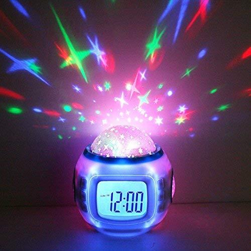 Hangang kinderwekker Night Sky Star projectieklok met achtergrondverlichting nachtlampje kalender thermometer voor kinderen