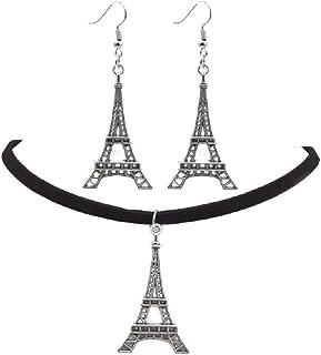 Collana in argento con ciondolo a forma di torre Eiffel, orecchini in pelle nera, stile vintage, retrò, set di gioielli un...