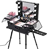Happybuy Rolling Makeup Case 28'x21'x54' with LED Light Mirror Adjustable Legs Lockable Train Table Studio Artist Cosmetic