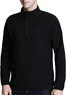 CAMEL CROWN Mens Fleece Jacket,Half-Zip Pullover Lightweight Soft Sweater for Fall and Winter,Medium,Black