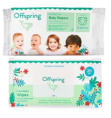 Offspring - New - Disposable Diapers Size 2, Size 3 (13-22lbs.) Designer Print Premium Diaper and Wipe Sample Pack- 3 Eco-Friendly Ultra Soft Diapers 20 Biodegradable All Natural Wipes