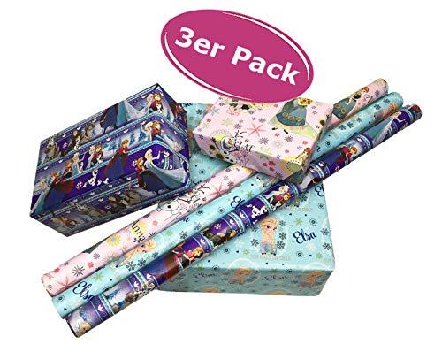 Elsa Frozen Geschenkpapier 3er Set - Disney Eiskönigin Geburtstagspapier Geschenkverpackung