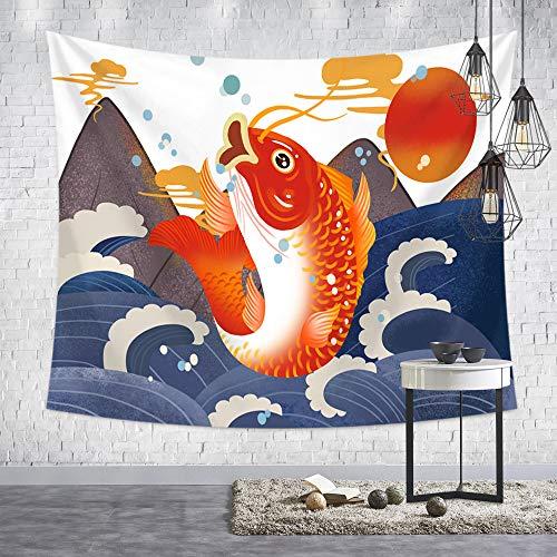 GenericBrands Tapiz de Onda de Cerdo Lindo Estilo japonés Ukiyo-e con tapices de volcán Volcán Rojo Tapiz japonés Tapiz para habitación