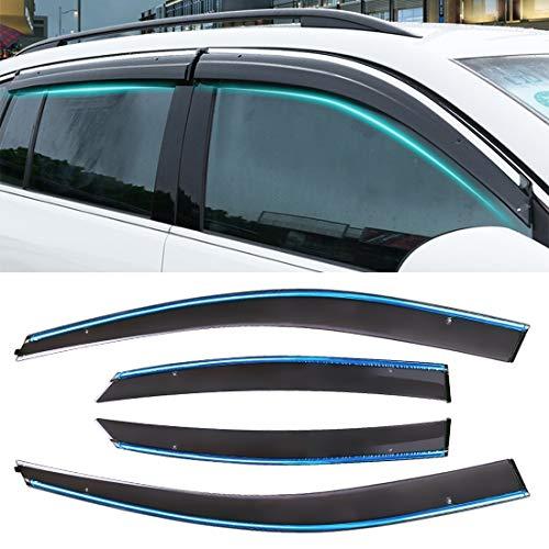 Raam luifel 4 PCS Raam Zonnige regen Visors Luifels Zonnige regenbescherming voor Ford Focus 2005-2011 Versie Klassieke Stijl Sedan, venster luifel