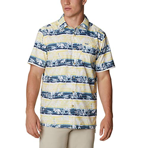 Columbia Super Slack Tide - Camisa de Campamento para Hombre, Hombre, Super Slack Tide - Camiseta de Campamento, 165376, Sun Glow Ombre Fish Stripe, XXX-Large