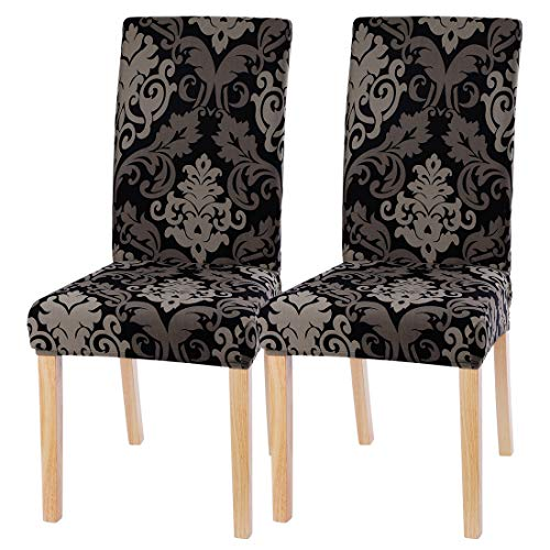 ChicSoleil Stuhlhussen Stuhlbezüge 1er/2er/4er/6er Set Stretch Esszimmer Sitz Stuhl Abdeckungen Elastische Moderne Muster Stuhlabdeckung für Hotel Esszimmerstuhl Dekoration (Barock, 2 Stück)