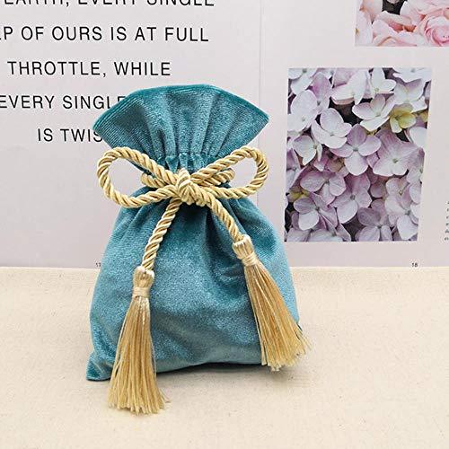 Aober Lake Blue Samtbeutel mit Quaste Lila Rotgold Schmuck Verpackungsbeutel Hochzeitssüßigkeit Geschenktüten Beutel Dunkelgrün, Lake Blue Gold