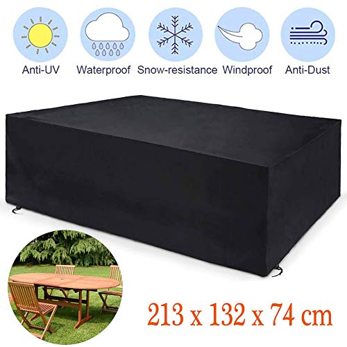 MSHK Table Cover Black Waterproof Outdoor Square Waterproof Cover Rattan Cube, Heavy Duty Patio Table Cover 210D Oxford Black for Chair Sofa,213 x 132 x 74 cm