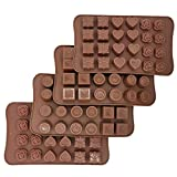 4 Packs Silicone Chocolate Candy Molds, 6 Styles Non-Stick Food Grade, Reusable 96 Cavity Candy Baking Mold Ice Cube Trays Candies Making Supplies for Chocolates Hard Candy Cake (Brown)