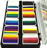 Face Paint Palette Rainbow Split Cakes for One Stroke technique with 12 Popular Professional Color Blocks from...