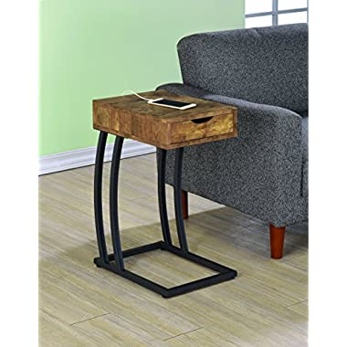 Coaster Industrial Accent Table with Storage Drawer and Outlet, Antique Nutmeg