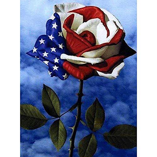 5D Diamond Painting Diamant Malerei Painting Bilder, Wowdecor Bunt Rose Amerikanische Flagge Full Set Groß DIY Diamant Gemälde Malen Nach Zahlen