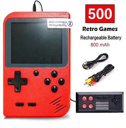Flybiz Handheld Spielkonsole, Handheld Konsole 3 Zoll Gameboy FC System 500 Retro Spielkonsole Konsole für Kinder Geschenk, Unterstützung TV Player, tragbare Retro-Videospielkonsole(2P-rot)