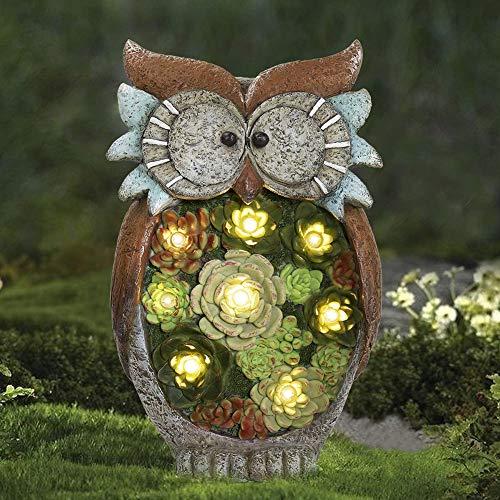 HIAME Nachtlicht Eule Deko, Solarlampen für Außen, Gartendeko Eule Solar Leuchte, LED Solar Gartenleuchte Eule Rasen Lampe, Wasserdichte LED Licht für Partys Garten Hochzeiten Dekoration