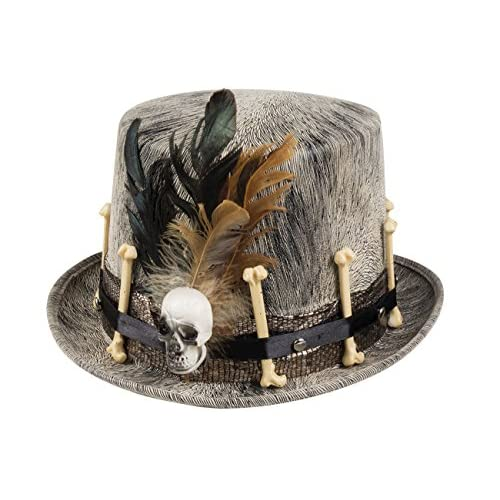 Cappello Voodoo Nawu con decorazioni ossa e piume, grigio