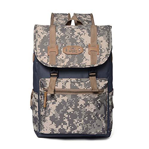 Rucksack Große Kapazität Vintage Canvas Rucksäcke Für Männer Camouflage Outdoor Reisetasche wasserdichteTagesrucksäcke Retro Bagpack Grau