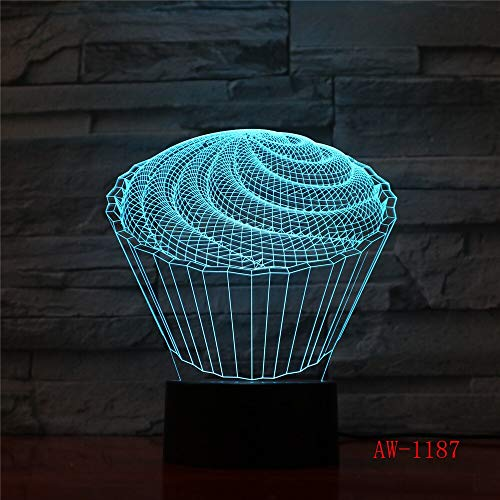 jiushixw 3D acryl nachtlampje met afstandsbediening kleur tafellamp Hurrikoon storm nacht sieraden waterdruppels klok tafellamp centimeter