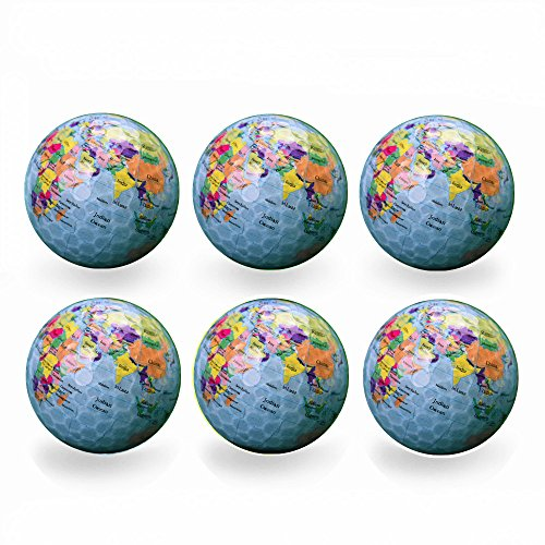 Funny Novelty Practice Golf Balls 6Pack For Kids Men Woman , Christmas Birthday Gift (Earth)