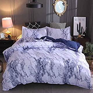 JZCXKJ 12 Colors Bedding Set Nordic Modern Style Marble Pattern Printed Duvet Cover SetDouble Full Queen King Size Bed Linen 8 Size 200x230cm (3Pcs) Blue