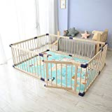 Dripex Wooden Baby Playpen, 8 Panels Large Play Fence for Toddlers, Kids Rectangle Activity Center Safety Play Yard with Lockable Door for Indoor and Outdoor (204 x 154cm)