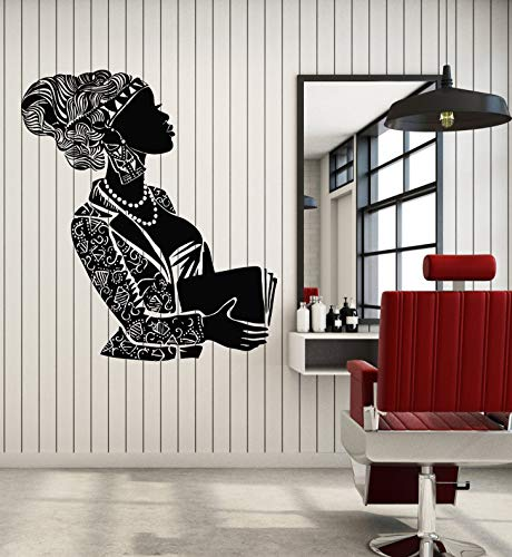 Vinyl Wall Decal Black Lady African Woman Face Hairstyle Book Stickers Mural Large Decor (g1627) Black