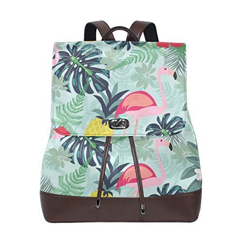 Ahomy Damen Fashion PU Leder Rucksack Flamingo Ananas Toucan Monstera Leaf Anti-Diebstahl Rucksack Schultertasche