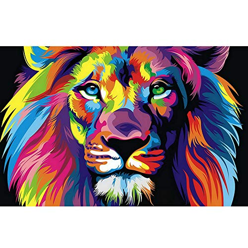 """Nativeemie Abstrait Animal Toile Peinture Aquarelle Lion Pop Art Affiches et Impressions Mur Art Photo Salon Décor À La Maison 80x140cm / 31.5""""x55.1 sans Cadre"""