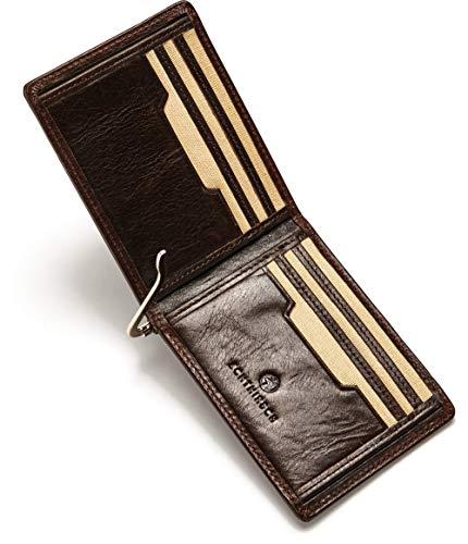 ECHTHIRSCH Geldbeutel Geld-Börse Portemonee Karten-Etui Kredit-Karten Money-Clip RFID-Schutz Slim Canvas Leder-Hülle - Entrepreneur-Tobacco Beige