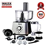 Inalsa Food Processor 1.4L Magic Pro-700 with 2 Multipurpose Jars/ 7 Accessories, Includes Chopping & Atta Kneading Blade, Egg Whisker,(Black/Silver)