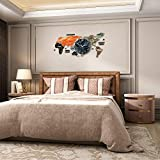 MEISD Large Decorative World Map Wall Clock, 29 Inch Big Wall Clocks for Living Room Decor, Modern 3D DIY Wall Sticker Clock for Bedroom Kitchen Home Office, Silent Non Ticking, Battery Operated